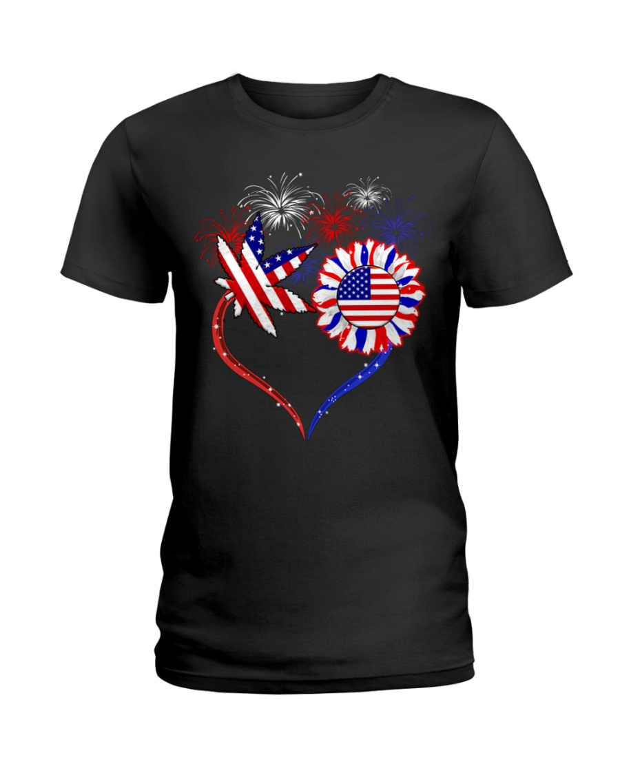 Weed Heart America Flag Ladies T-Shirt
