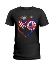 Weed Heart America Flag Ladies T-Shirt front