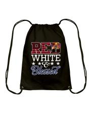 Red White Blessed Drawstring Bag thumbnail