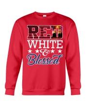 Red White Blessed Crewneck Sweatshirt thumbnail