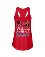 Red White Blessed Ladies Flowy Tank thumbnail