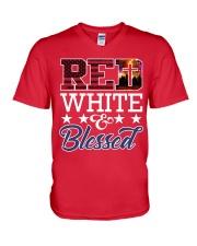 Red White Blessed V-Neck T-Shirt thumbnail