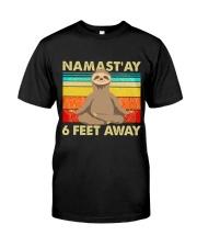 Sloth Namastay 6 Feet Away Classic T-Shirt front