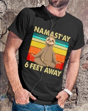 Sloth Namastay 6 Feet Away Classic T-Shirt lifestyle-mens-crewneck-front-4