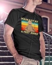 Sloth Namastay 6 Feet Away Classic T-Shirt lifestyle-mens-crewneck-front-5