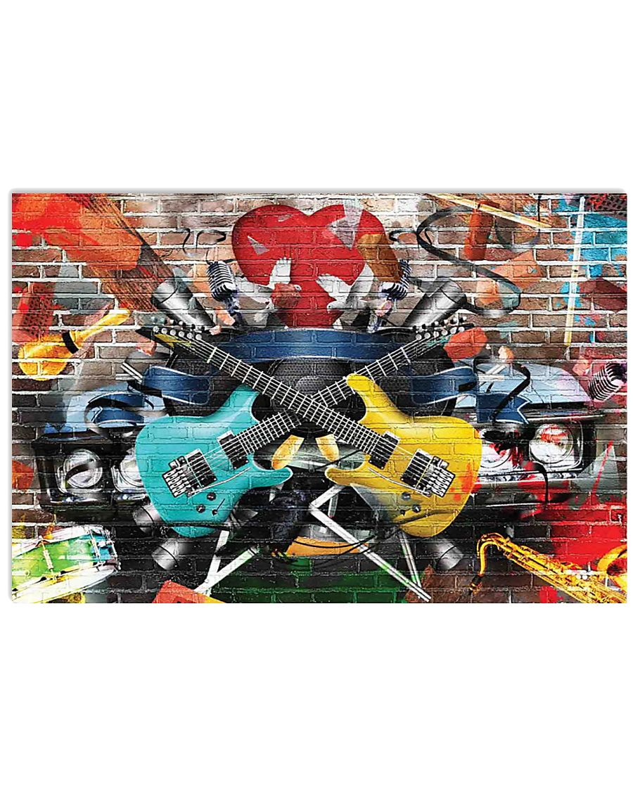 Guitar Color Brick 17x11 Poster