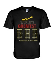 WORLD'S GREATEST GUITAR DAD V-Neck T-Shirt thumbnail