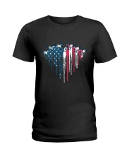 Horse Racing In Heart Flag Ladies T-Shirt thumbnail