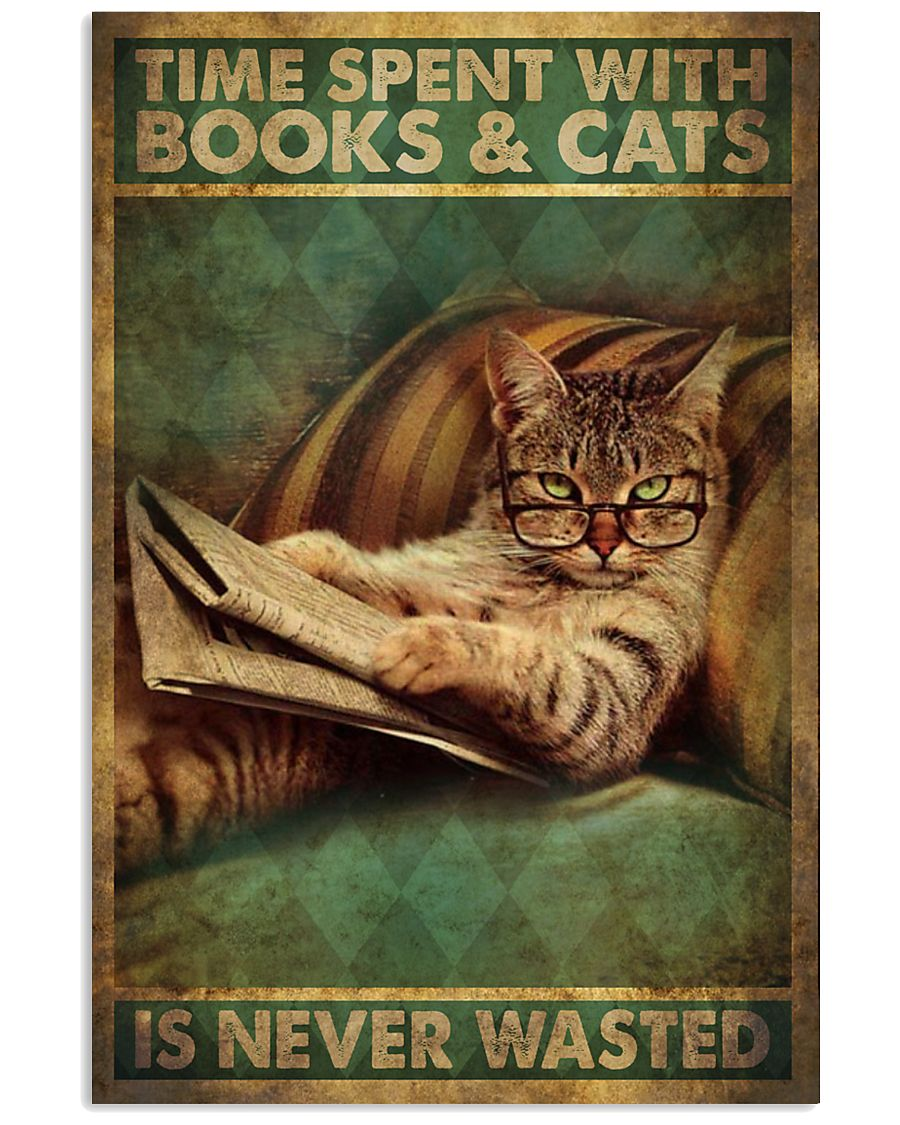 Time Spent With Book And Cat 11x17 Poster