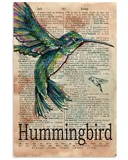 Dictionary Page Definition Hummingbird 11x17 Poster front