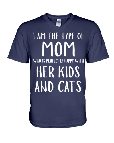 Kids and Cats Mom Shirts