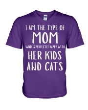 Kids and Cats Mom Shirts V-Neck T-Shirt front