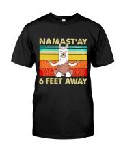 Llama Namastay 6 Feet Away Classic T-Shirt front