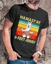 Llama Namastay 6 Feet Away Classic T-Shirt lifestyle-mens-crewneck-front-4