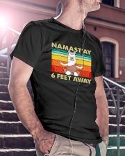Llama Namastay 6 Feet Away Classic T-Shirt lifestyle-mens-crewneck-front-5