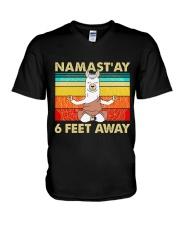Llama Namastay 6 Feet Away V-Neck T-Shirt thumbnail