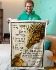 "To My Bonus Dad Small Fleece Blanket - 30"" x 40"" aos-coral-fleece-blanket-30x40-lifestyle-front-09"