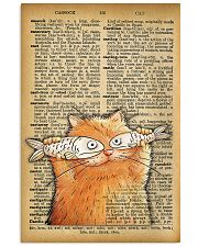 Funny Cat And Fish Old Dictionary Pages 11x17 Poster front