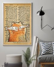 Funny Cat And Fish Old Dictionary Pages 11x17 Poster lifestyle-poster-1