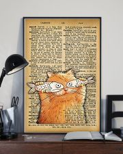 Funny Cat And Fish Old Dictionary Pages 11x17 Poster lifestyle-poster-2