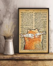 Funny Cat And Fish Old Dictionary Pages 11x17 Poster lifestyle-poster-3