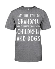 Happy Grandma With Children and Dogs Classic T-Shirt thumbnail