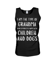 Happy Grandma With Children and Dogs Unisex Tank tile