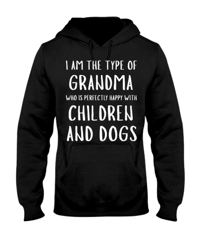 Happy Grandma With Children and Dogs