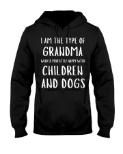 Happy Grandma With Children and Dogs Hooded Sweatshirt thumbnail