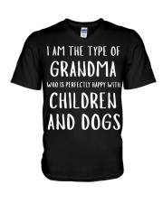 Happy Grandma With Children and Dogs V-Neck T-Shirt tile