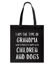 Happy Grandma With Children and Dogs Tote Bag tile