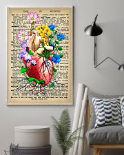 Vintage Dictionary Anatomical Heart And Flowers 11x17 Poster lifestyle-poster-1