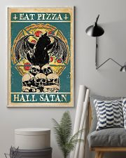 Black Cat Eat Pizza Hail Satan 11x17 Poster lifestyle-poster-1