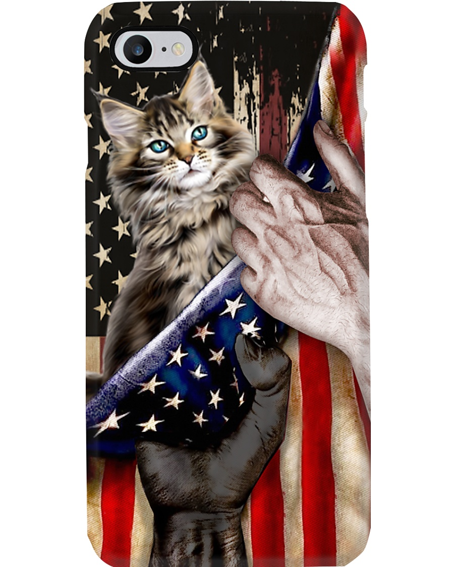 Love Maine Coon Cat United State Flag Phone Case