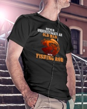 Never Underestimate An Old Man With A Fishing Rod Classic T-Shirt lifestyle-mens-crewneck-front-5