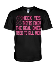 The real ones tried to kill me V-Neck T-Shirt thumbnail