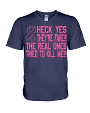 The real ones tried to kill me V-Neck T-Shirt front