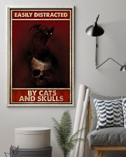 Black Cat And Skull Easily Distracted By Cats 11x17 Poster lifestyle-poster-1