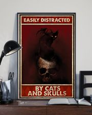 Black Cat And Skull Easily Distracted By Cats 11x17 Poster lifestyle-poster-2