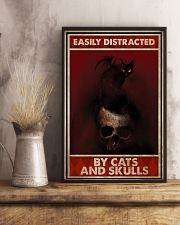 Black Cat And Skull Easily Distracted By Cats 11x17 Poster lifestyle-poster-3