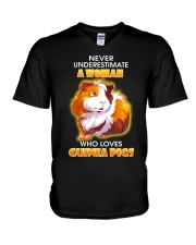 Never Underestimate A Woman Who Loves Guinea Pigs V-Neck T-Shirt thumbnail