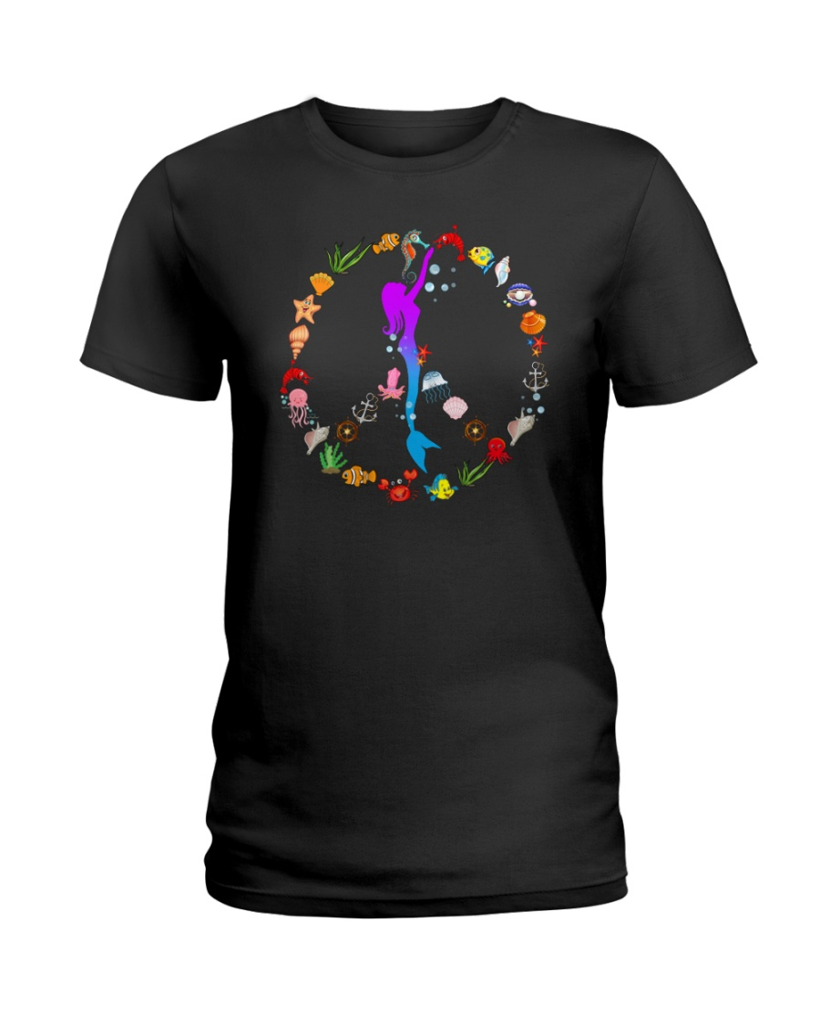 Peace Love And Mermaid Ladies T-Shirt