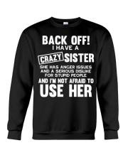 Funny Crazy Little Big Sister Brother Gift Sguvt F Crewneck Sweatshirt thumbnail