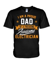 I Am a Proud Dad of a Freaking Awesome Electrician V-Neck T-Shirt thumbnail