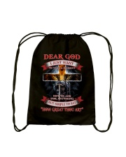 Dear God i Just want to say Drawstring Bag thumbnail