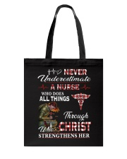 Never Underestimate a Nurse Tote Bag thumbnail
