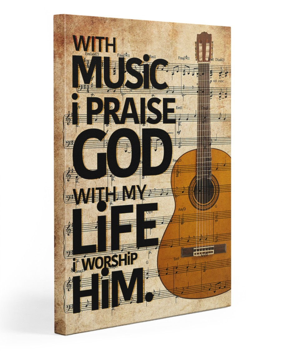 Guitar With Music I pray God 20x30 Gallery Wrapped Canvas Prints