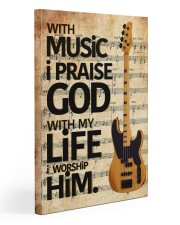 With Music I Praise God  Bass Guitar 20x30 Gallery Wrapped Canvas Prints front