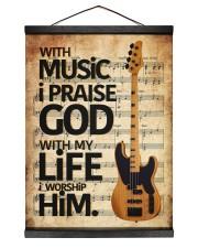With Music I Praise God  Bass Guitar 12x16 Black Hanging Canvas thumbnail
