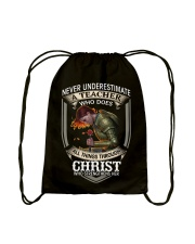Never Underestimate  A Teacher Drawstring Bag thumbnail